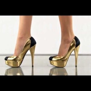 Bebe Gold Black Pamelia Platform Pumps Size 9